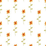 Seamless watercolor background consisting of small orange flowers Stock Photo