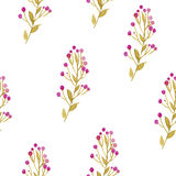 Seamless watercolor background consisting of twigs with yellow leaves and pink berries Royalty Free Stock Photos