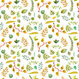 Seamless watercolor background with different leaves Royalty Free Stock Photo
