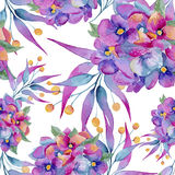 Seamless watercolor background of flowers stock illustration