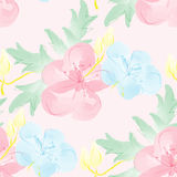 Seamless watercolor background with flowers. Gentle digital pattern. Royalty Free Stock Image