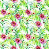 Seamless watercolor background. Flowers. Royalty Free Stock Image