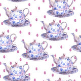 Seamless watercolor background with teapots Royalty Free Stock Photos