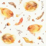 Seamless Watercolor Boho Pattern with yellow chickens for babies, newborn kids royalty free illustration