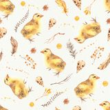 Seamless Watercolor Boho Pattern with yellow chickens for babies, newborn kids vector illustration