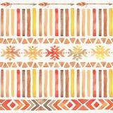 Seamless Watercolor Boho Tribal Ornamental Pattern royalty free stock image