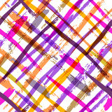 Seamless watercolor bold plaid pattern with colorful diagonal st Stock Images