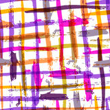 Seamless watercolor bold plaid pattern with colorful stripes. Ve Royalty Free Stock Photography
