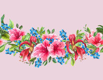 Seamless Watercolor Border with Tropical Flowers Stock Photography
