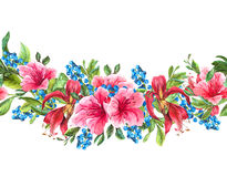 Seamless Watercolor Border with Tropical Flowers Royalty Free Stock Images