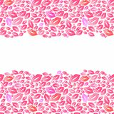 Seamless watercolor borders with lip stains on the Royalty Free Stock Image