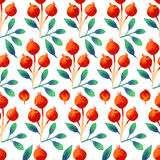 Seamless watercolor botanical pattern with orange berries and leaves Stock Photo