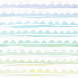 Seamless watercolor branding texture, based on toothed rainbow hand-drawn stripes. Simple, rough. Raster illustration is vibrant, royalty free illustration