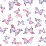 Seamless watercolor butterflies pattern Stock Photo