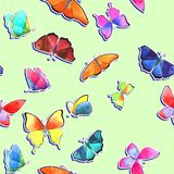 Seamless watercolor butterfly pattern on light green background vector illustration
