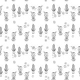Seamless watercolor cactuses plant pattern Royalty Free Stock Photography