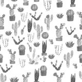 Seamless watercolor cactuses plant pattern Stock Photography