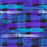 Seamless Watercolor striped print, blue drawing in a cage royalty free stock images