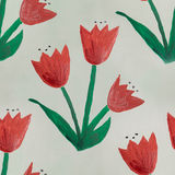 Seamless watercolor childish flowers green red handmade royalty free stock photos