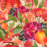Seamless Watercolor Chinese New Year Background Royalty Free Stock Photo