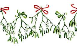 Seamless watercolor Christmas background with mistletoe and red ribbon Royalty Free Stock Photo