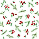 Seamless Watercolor Christmas pattern with Berries and Spruce Branches on White Background. Watercolor hand drawn red berries and green spruce branches isolated vector illustration