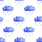 Seamless watercolor cloud pattern vector illustration
