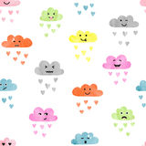 Seamless watercolor clouds pattern. Rain of colorful hearts. Vector illustration Royalty Free Stock Image