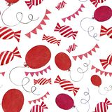 Seamless watercolor colorful candies, flags and balloons pattern isolated elements on white background stock illustration