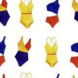 Seamless watercolor colorful swimsuit pattern of isolated objects on white background vector illustration