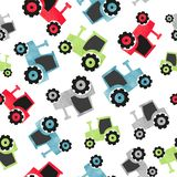 Seamless watercolor colorful tractor pattern for kids. Vector transport background vector illustration