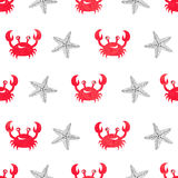 Seamless watercolor crab pattern. Vector illustration Royalty Free Stock Image
