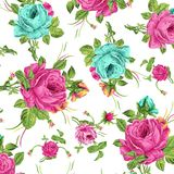 Seamless watercolor digital flowers pattern vector illustration