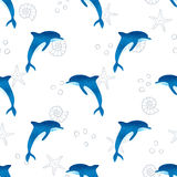 Seamless watercolor dolphins pattern Stock Images