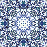 Seamless watercolor doodle decorative pattern. Seamless blue watercolor doodle fantasy decorative pattern Royalty Free Stock Image
