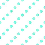 Seamless watercolor dots pattern. Seamless hand drawn watercolor pattern made of round aqua blue dots,  over white Royalty Free Stock Photos