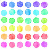 Seamless watercolor dots pattern. Seamless hand drawn watercolor pattern made of round rainbow dots, isolated over white vector illustration