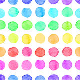 Seamless watercolor dots pattern. Seamless hand drawn watercolor pattern made of round rainbow dots, over white vector illustration