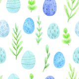 Seamless watercolor easter pattern of spring greens and colored eggs vector illustration