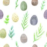 Seamless watercolor easter pattern of spring greens and eggs in natural colors royalty free illustration