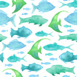 Seamless watercolor fish pattern. Royalty Free Stock Image