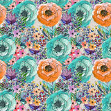 Seamless watercolor floral pattern Royalty Free Stock Images