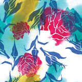 Seamless watercolor floral pattern. With leafs and roses (From my big Seamless collection Stock Photography