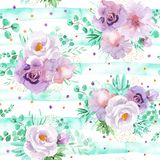Seamless watercolor floral pattern in mint green and light purple violet colors Royalty Free Stock Photos