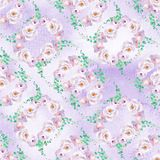 Seamless watercolor floral pattern in mint green and light purple violet colors with roses wreaths. Seamless pattern. Can be used for scrapbooking, cards Royalty Free Stock Photos