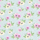 Seamless watercolor flowers background pattern Stock Photos