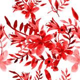 Seamless watercolor flowers lily tulip pattern Stock Photography