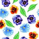 Seamless watercolor flowers Stock Images