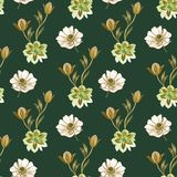 Seamless watercolor flowers pattern. Hand painted flowers on a white background. Hand painted flowers of different colors. Flowers vector illustration