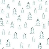 Seamless watercolor forest pattern. Green trees on white background. Abstract watercolor illustration. Can be used for stock illustration